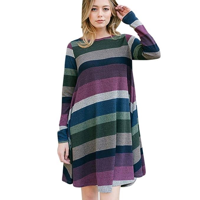 d80ccced82 ManxiVoo Women s Plus Size T-Shirt Dress Maternity Tops Long Sleeve Stripe  Cotton Blouse (