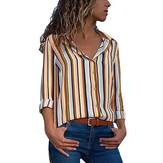 Manga Larga Casual para Mujer, Blusa de Rayas Color Block Botón T Shirts Señoras Tops de Mujer ❤ Manadlian: Amazon.es: Ropa y accesorios