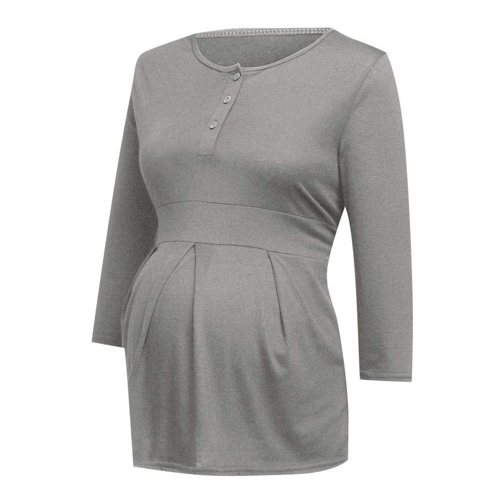 Lenfesh Mode f/ür Schwangere Stillbluse Umstandsmode Bluse Schwanger Umstandsbluse Langarm Stilltop Maternity Shirts Casual Umstandsshirt