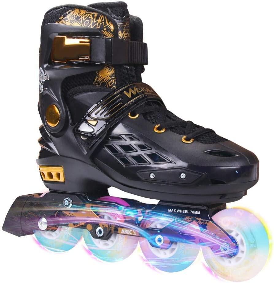 YF YOUFU Adjustable Inline Skates for Boys Girls Adult, Roller Skate Blades with Triple Protection, Front Foot Shield, Hard PU Wheels, Patines with Light-up Wheel for Youth, Men, Women