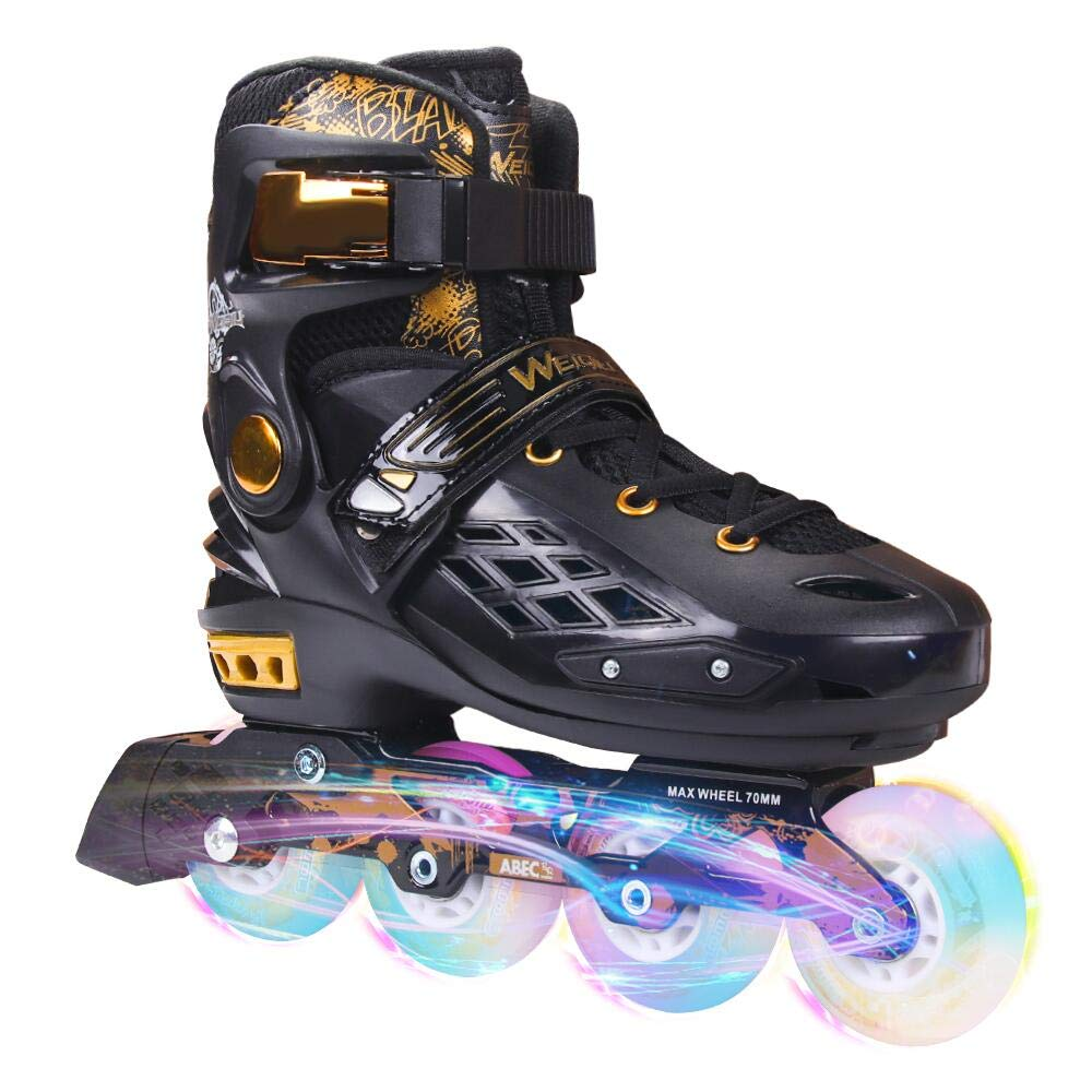 YF YOUFU Adjustable Inline Skates for Youth and Adults, Roller Skate with Triple Protection, Fitness Inline Roller Blades with Light Up Wheels, Hard and Strong PU Wheels, Black and Gold for Men, Women
