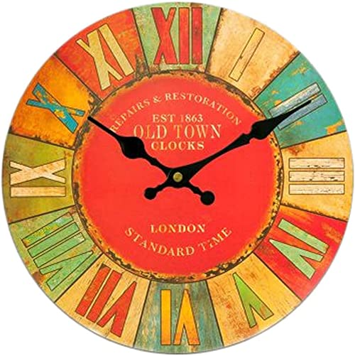 Kylin Express Creative Living Room Decorative Colorful Silent Round Wall Clocks 14