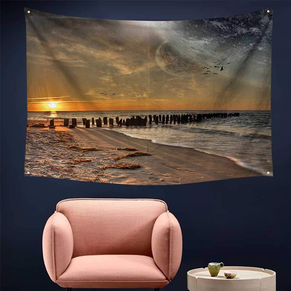 alsohome Pattern Tapestry Tapestry for Girls Solar Eclipse ACH Ocean with Horiz Sun Mo Glo Gulls Flying 93X70