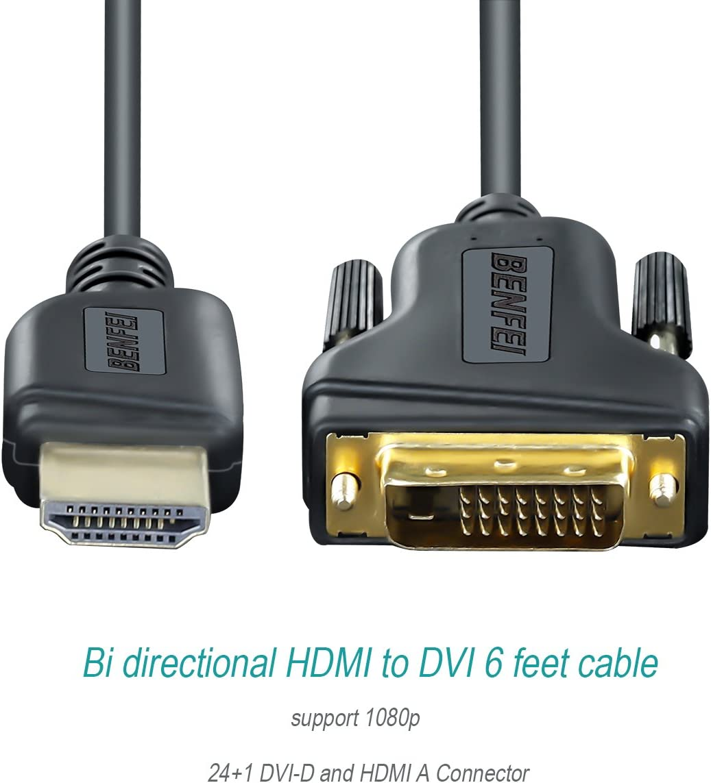 Benfei 2 Pack HDMI to DVI Cable Bi Directional DVI-D 24+1 Male to HDMI Male High Speed Adapter Cable Support 1080P Full HD Compatible for Raspberry Pi HDMI to DVI Roku PS4 PS3 Xbox One