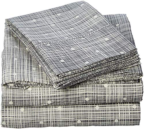 Celine Linen Luxury Silky Soft Coziest 1500 Thread Count Egyptian Quality 4-Piece Bed Sheet Set |Polka Dot Pattern| Wrinkle Free, 100% Hypoallergenic, Full, Gray