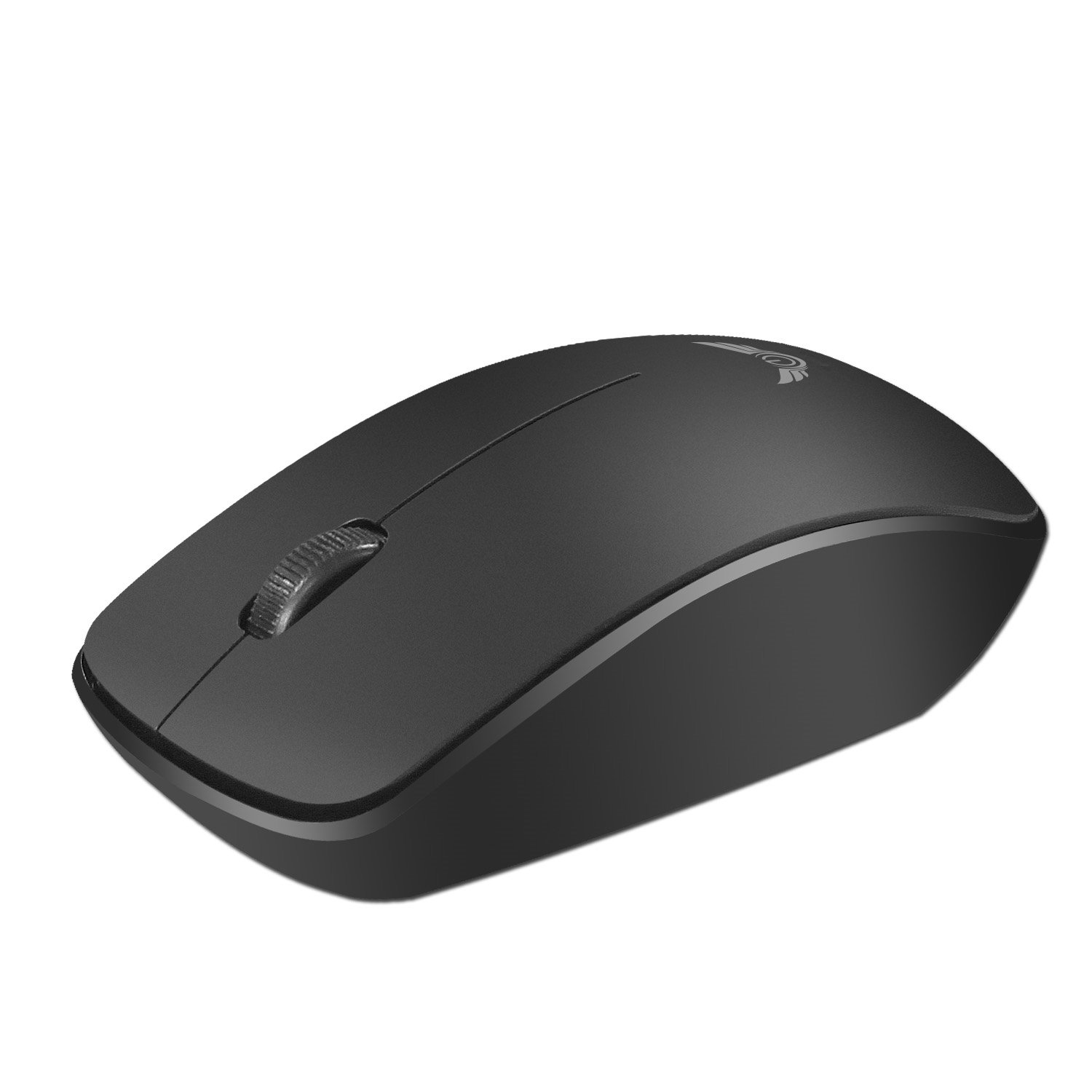 3-Buttons Ultra Light Portable Optical Wireless Mouse with usb Nano Receiver, High Speed Precision with 1600 DPI Level, Compatible with Notebook, Computer, Laptop, Dell, Apple and Macbook Pro. (Black)