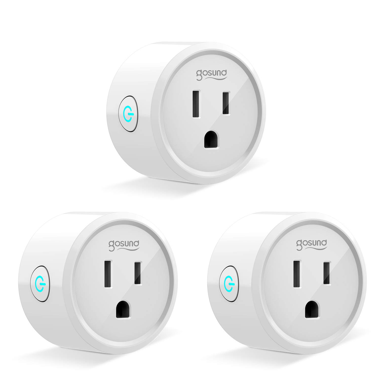 Gosund Mini Smart Plug 3 Pack, Wifi Enabled Outlet Socket with Timing Function, Works with Amazon Alexa, Google Assistant and IFTTT, Remote Control by Phone, FCC and ETL Certified