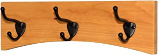 "product image for PegandRail Solid Cherry Arched Wall Mounted Coat Rack Bronze Hat & Coat Hooks- Made in The USA (Cherry, 15"" x 4.5"" with 3 Hooks)"