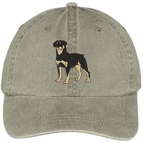(Trendy Apparel Shop Rottweiler Embroidered Dog Theme Low Profile Dad Hat Cotton Cap - Khaki)