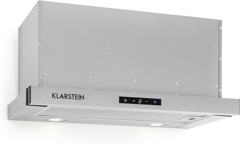 Klarstein Vinea Campana extractora de bajo mueble - Vidrio de seguridad, 60 cm ancho, Extraíble, 610 m³/h máx. extracción humo, iluminación, Filtro de grasa, Clase Energética A, Plata