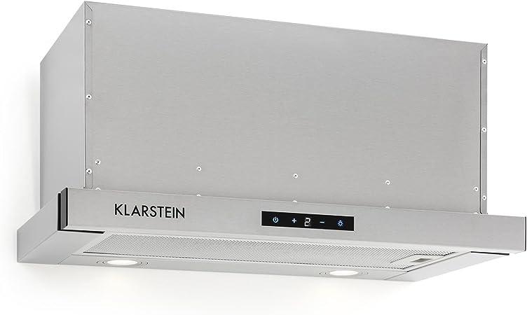 Klarstein Vinea Campana extractora de bajo mueble - 60 cm ancho, Extraíble, 610 m³/h máx. extracción, Filtro grasa, 2 x Filtro carbón activo, Clase A, Plateado: Amazon.es: Grandes electrodomésticos