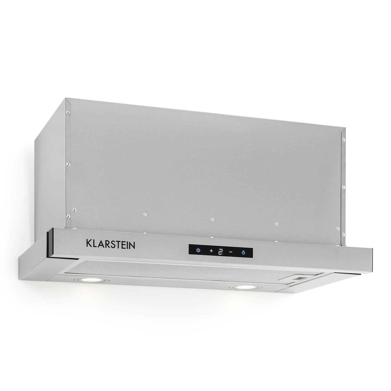 Klarstein Vinea Campana extractora de bajo mueble Vidrio de seguridad 60 cm ancho Extraíble 610 m³/h máx. extracción humo iluminación Filtro de grasa Clase Energética A Plata