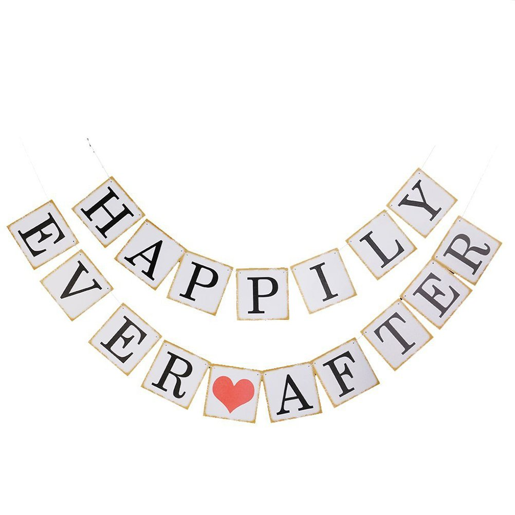 Tinksky HAPPILY EVER AFTER Card Paper Bunting Birthday Party Wedding Banners Decoration White