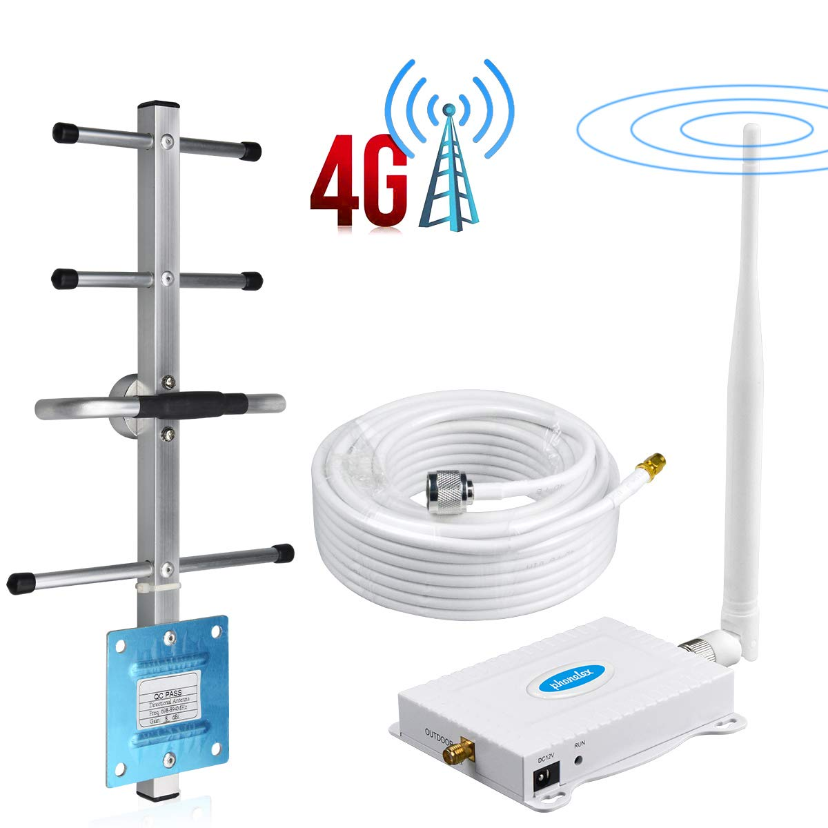 Phonelex1 Cell Phone Signal Booster AT&T 4G LTE Band 12/17T-Mobile 700Mhz Signal Booster ATT Cell Phone Booster Repeater Amplifier AT&T Mobile Phone Signal Booster with Whip+Yagi Antenna Kit For Home by Phonelex1
