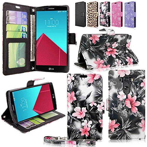 rvilla Pu Leather Wallet Flip Open Pocket Credit/id Card Slots/holder & Wrist Strap Case Cover for LG G4 (Black Pink Flower) (F-style Handset)