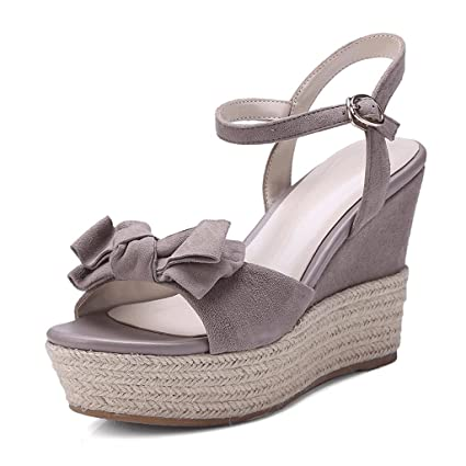 5f76308d6ff1 Image Unavailable. Image not available for. Color  Sandals Sweet And Lovely  Gray Wedge Fashion Open Toe ...