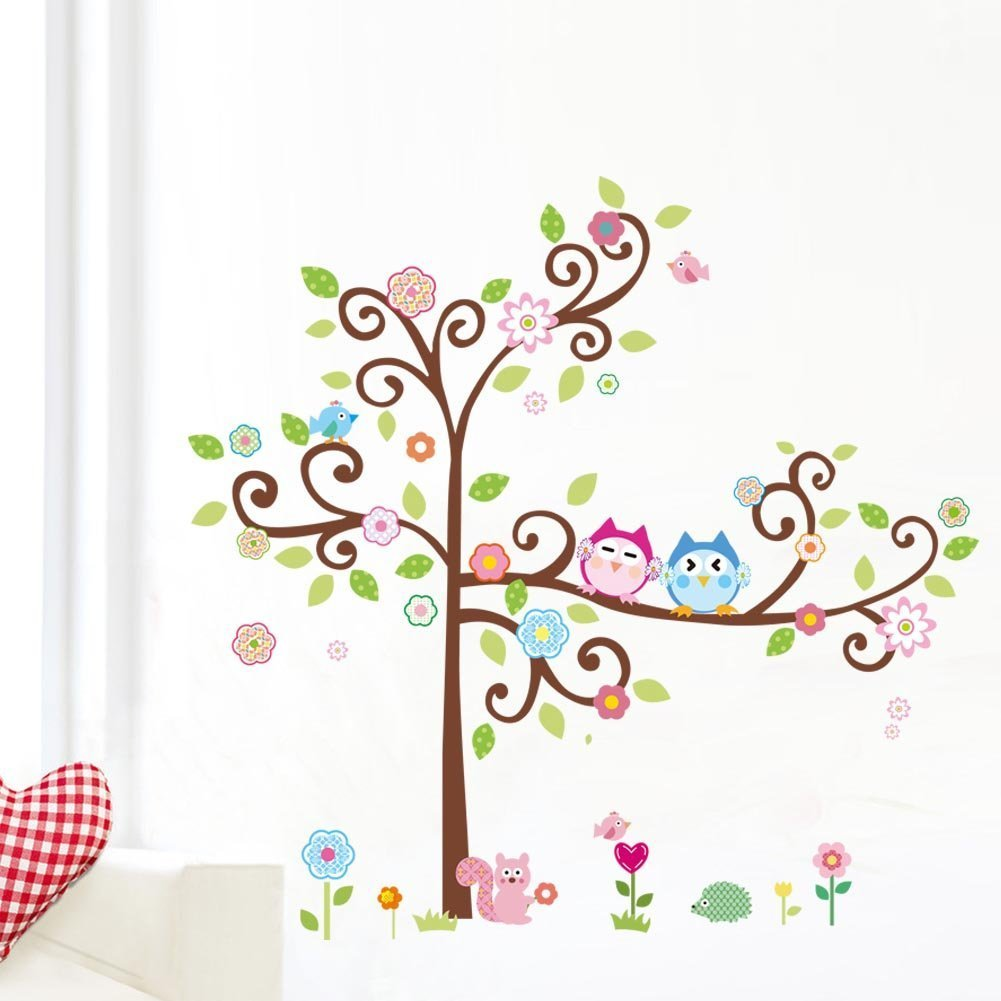 1 x colorful flower and owls on the tree cartoon wall decor 1 x colorful flower and owls on the tree cartoon wall decor sticker removable decals for kids room decoration for living room by soferrior amazon amipublicfo Gallery