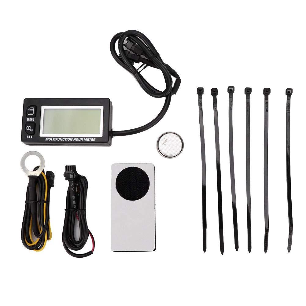 Qii lu Thermometer, LCD Digital Thermometer Tachometer Temperature Sensor Temp Hour Meter for Motorcycle ATV Boat