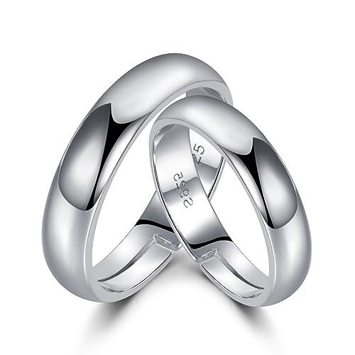 Anillos de plata de ley 925 de LYTOPTOP, anillos de promesa para pareja, abiertos