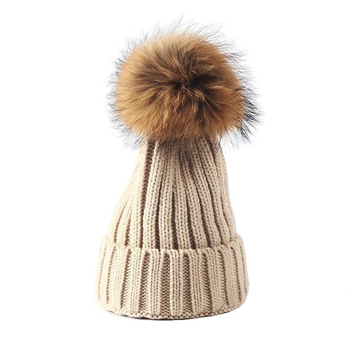 63237e4e0 Kids Beanie Pom Pom, Winter Warm Knit Hat Kid Crochet Fur Hairball ...