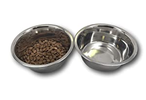 """Top Dog Chews Stainless Steel Dog Bowl Set, 8"""" Large, 8 Cups, 64oz / 2 Quart. No stickers to remove."""