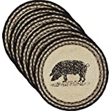 VHC Brands 34286 Classic Country Farmhouse Tabletop & Kitchen-Sawyer Mill White Round Jute Tablemat Set of 6, One Size, Pig