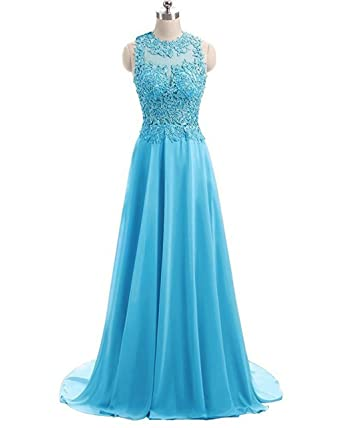 Fanciest Womens Crystal Beaded Prom Dresses 2017 Long Evening Gowns Formal Blue US2