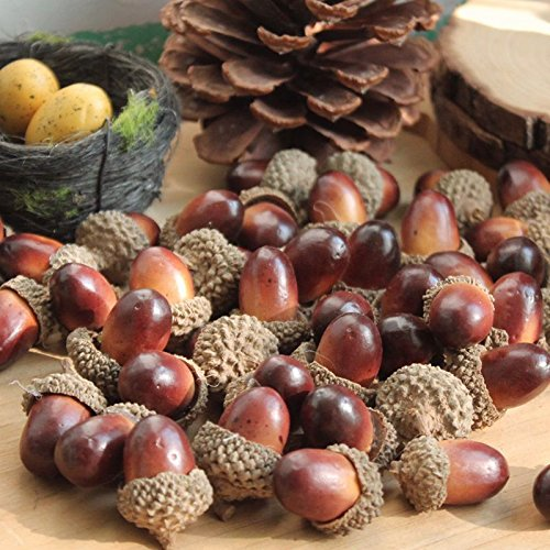 ONWON 100pcs Simulation Artificial Lifelike Small Acorn with Natural Acorn Cap for DIY Decoration Crafting Home House Kitchen Decor - Fake Fruit Props Acorns