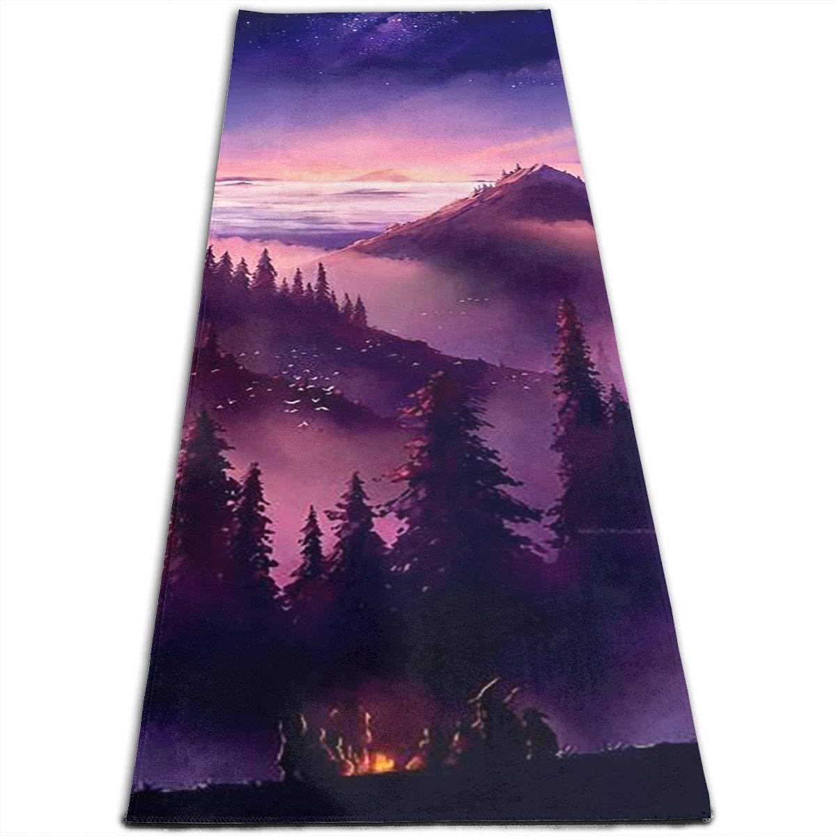 Bonfire Mountain Print Yoga Mat, NonSlip Extra Thick Fitness Mat, for Fitness, Yoga Workout, Pilates & Floor Exercises Mat