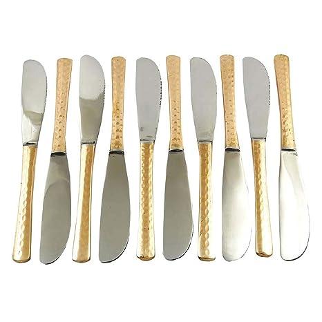 Tradicional indio de la porción Tenedor de cocina Accesorios de cobre Juego de cubiertos de 10 piezas: Amazon.es: Hogar