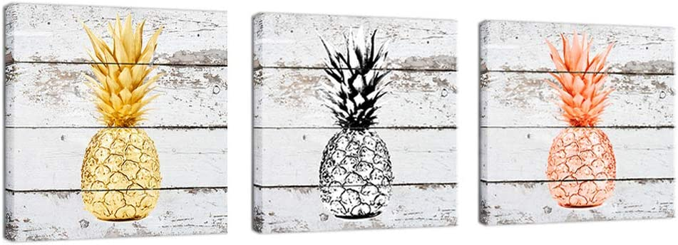 K-Road Pineapple Decor 3 Piece Wall Art Framed Canvas Painting Rose Gold Black and White Prints Pictures Rustic Home Decorations 12x12x3Pcs