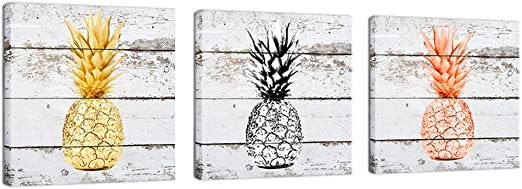 Framed Vintage Wood Pineapple Giclee Picture Wall Art Canvas Prints Home Decor