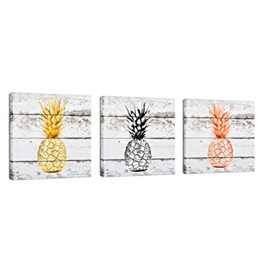 K-Road Pineapple Canvas Prints Framed Wall Art Vintage Picture Painting Wood Texture Room Decor 12 x 12in x 3Pcs