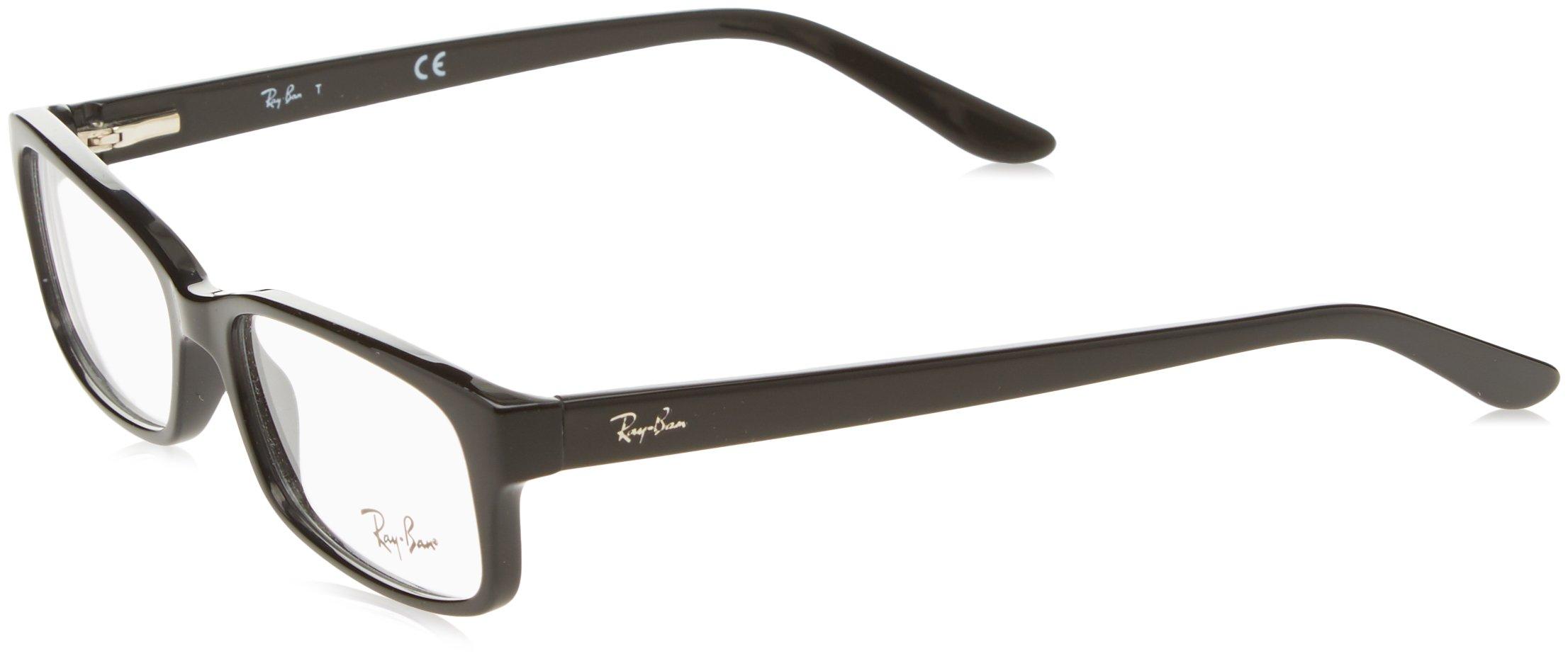 Ray-Ban Rx5187 Rectangular Eyeglasses,Shiny Black,50 mm