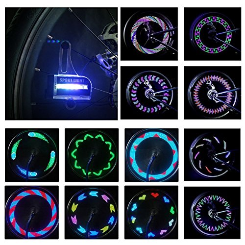 DAWAY A02 Bright Bike Wheel Lights - Waterproof 14 LED Spoke Light for Night Riding 30 Different Patterns Change - Best Christmas Gifts & Birthday Presents for Boys Girls Adults (Bike Tire Lights compare prices)