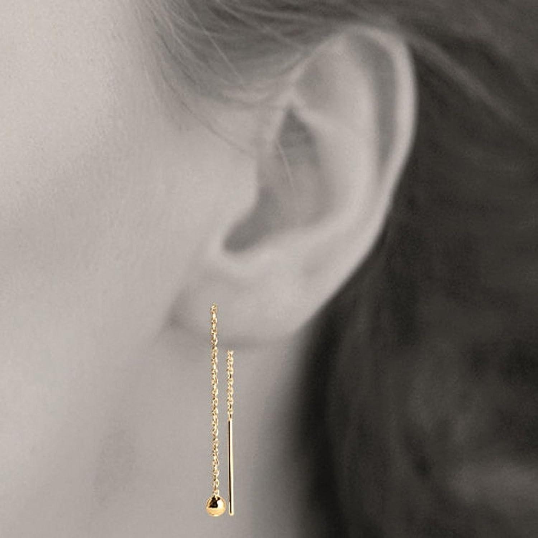 Boucle d'oreille pendante devant et derriere