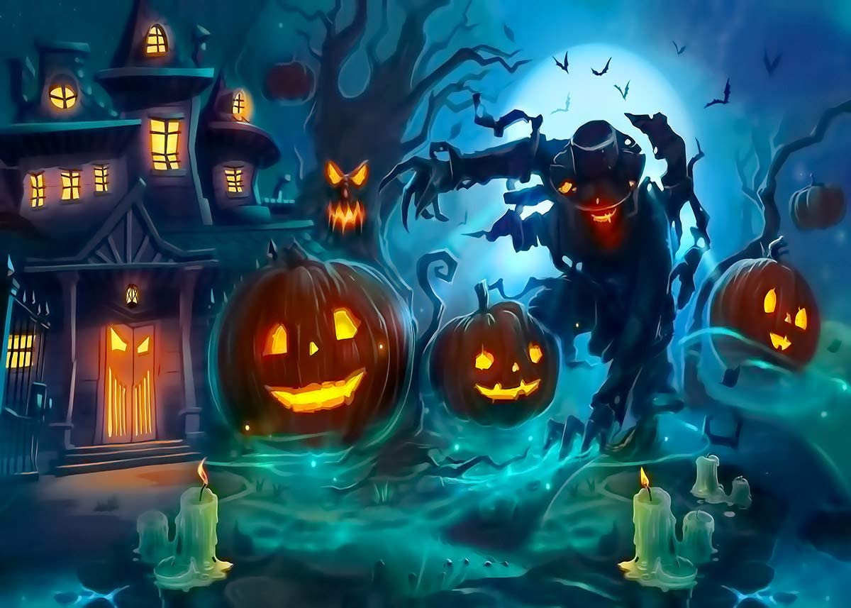 LB 10x8ft Halloween Pumpkin and Zombie Themed Backdrop for Photography Gloomy Scenery Background for Photoshoot Withered Tree with Pumpkin and Magic House Backdrop Decorations for Banner Photo Booth