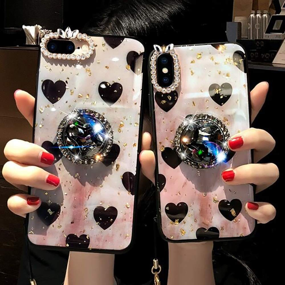 Luxury Diamond Seashell Pattern Bumper Bling Diamond Glitter Crystal with Airbag Stand Holder//Wrist Strap//Ball for Girls KeKeYM for iPhone XR Case Jewelry Blue, for iPhone XR 6.1