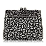 Milisente Women Evening Clutches Bag Diamond Stones Crystal Clutch Purse Handbag (Deep Grey)