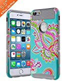 AnnBay iPhone 6 Plus /6s Plus Case 5.5 Inch,High Impact Hard Hybrid Dual Layer Heavy Duty Case Armor Cover with Totem Flower Pattern - Gray