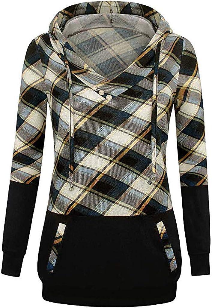 ZEFOTIM Women Hoodies, Women Long Sleeve Plaid Pullover Color Block Hooded Kangaroo Pockets Shirt Top: Clothing