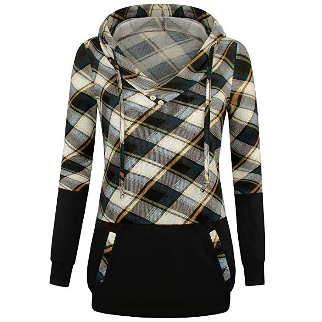 Triskye Womens Hooded Winter Warm Sweatshirt Plaid Color Block Shirt Top Ladies Lightweight Jacket with Kangaroo Pockets