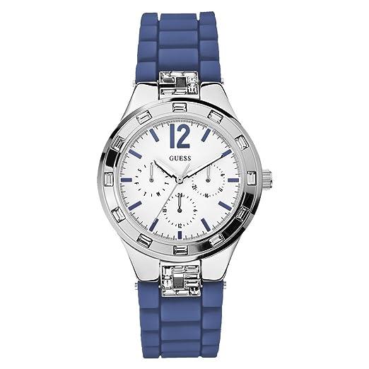1e8a7c1bb32c W10615L3 Guess Women s Watch Analogue Quartz White Dial Black Silicone Strap  (Blue)  Amazon.co.uk  Watches