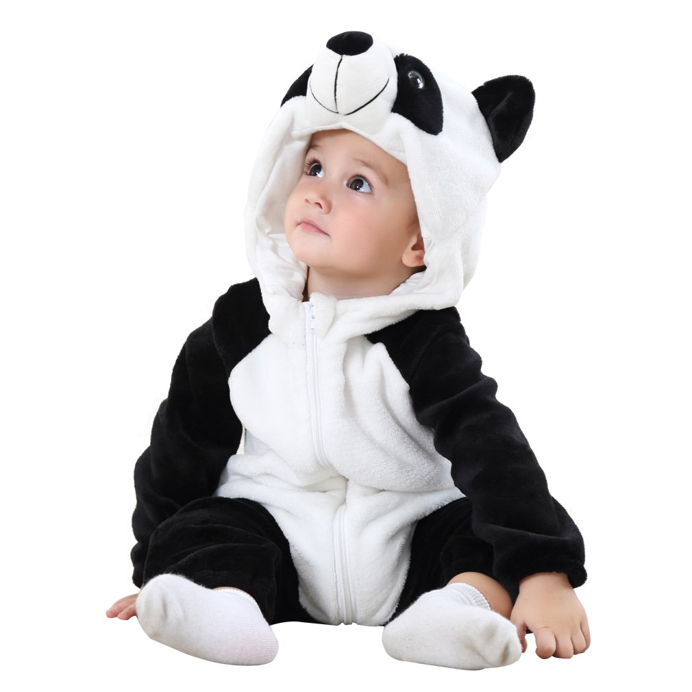 MICHLEY Unisex Baby Winter Hooded Romper Flannel Panda Style Cosplay Clothes,70cm-(2-5months),Panda