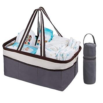 WELTRXE Bolsa de Almacenamiento del Organizador del Carrito del Pañal del Bebé para la Cesta del Regalo del Coche que Acampa con la Cubierta termo Para los ...