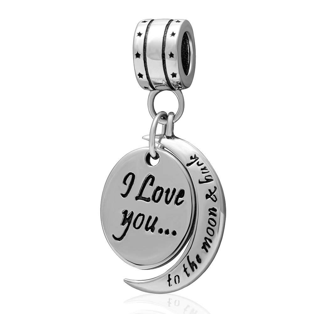 """""""I Love You To the Moon and Back"""" for Mom Women Girls 925 Sterling Silver Dangle Charm Fit Pandora Bracelets Charms Necklace Chain"""