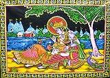 India Crafts Divine Lovers Radha Krishna Hindu God sequin Batik Cotton Wall Tapestry 40'' X 30''