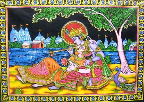 - India Crafts Divine Lovers Radha Krishna Hindu God sequin Batik Cotton Wall Tapestry 40