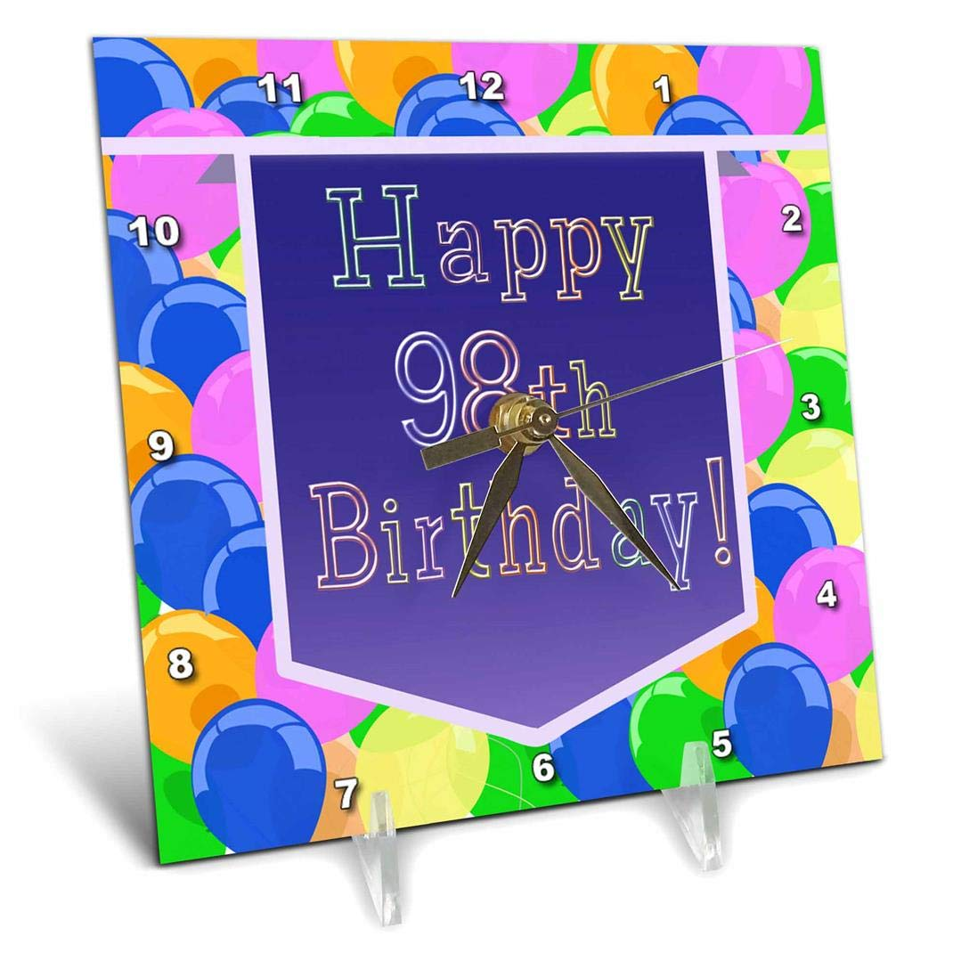 3dRose dc_174855_1 Balloons with Purple Banner Happy 98Th Birthday Desk Clock, 6 by 6'