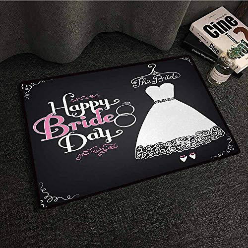 Swirl Print Dress - DILITECK Interior Door mat Bridal Shower Happy Bride Day Quote Wedding Dress Swirls Celebration Art Print Quick and Easy to Clean W30 xL39 Black White and Pink